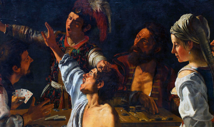 "Theodoor Rombouts ""Card and backgammon players. Fight over cards."""