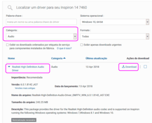 Download de drivers do Realtek Audio para Dell Inspiron 7460